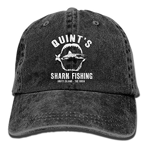 UUOnly Quint's Shark Fishing Washed Retro Einstellbare Jeans Cap Gym Caps für Mann und Frau -
