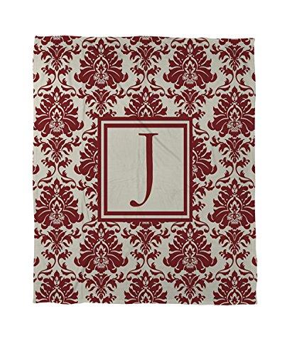 Manuelle holzverarbeiter & Weavers Bettbezug-, Monogramm Buchstabe J, Crimson Damast -