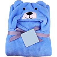 BRANDONN All in 1 Ultrasoft Luxury Dog Hooded Funny Caps Wrapper Baby Bath Towel (Blue)