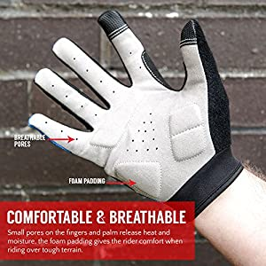 Padded Cycling Gloves, by Proworks [Touchscreen Compatible] for Road Bike, Mountain Biking, Racing & BMX - Unisex