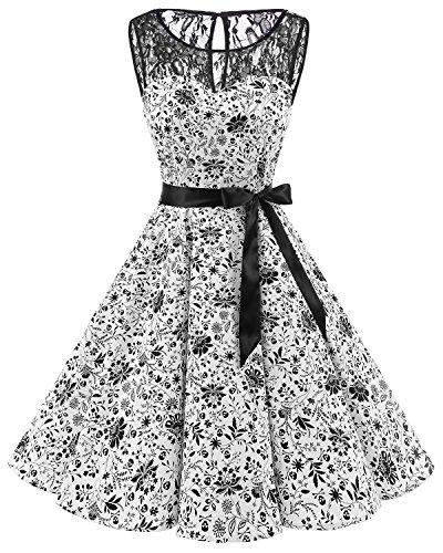 Bbonlinedress Vintage rétro 1950's Audrey Hepburn Robe de Soirée Cocktail sans Manches avec Dentelle année 50 Rockabilly White Skull S