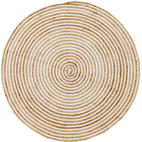 Handgewebter runder Jute Teppich 120 cm groß Teppich Rocio | Outdoor Teppiche Rund gefloc