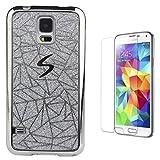 Pheant® [2in 1] Samsung Galaxy S5 Mini Hülle Glitzer mit Panzerglas (9H Härtegrad,Ultra-klar),Silikon Schutzhülle (Das glitzer Rückseite + Galvanotechnik Stoßrahmen)
