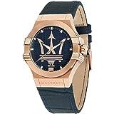 Reloj para Hombre, Colección Potenza, Movimiento de Cuarzo, Solo Tiempo con Fecha, en Acero, PVD Oro Rosa y Cuero - R88511080