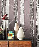 NEWROOM Holztapete Tapete Rosa Holzstämme Bäume Landhaus Vliestapete Grau Vlies moderne Design 3D Optik Holztapete Naturholz Natur inkl. Tapezier Ratgeber