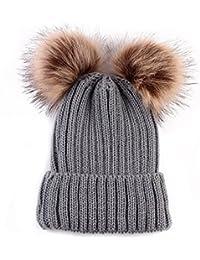 I LOVE DIY Bonnet Pompon Bebe Garcon Fille Chapeaux Tricoté Enfant Hiver  Mignons avec 2 Pompon 0b1d244e2ff