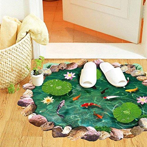 Pegatina de suelo vinilo adhesivo efecto 3D estanque de peces multicolor para baños, caravanas, piscinas, vestidores, saunas, gimnasios..de OPEN BUY