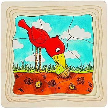 Goki 2041608 - Puzzle En Bois - Couches - L'arbre - 44 Pièces