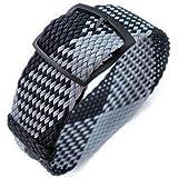 Cinturino per orologio in tessuto Strapcode 20, 22mm Cinturino per orologio in tessuto MiLTAT, nero e grigio chiaro, fibbia a