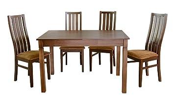 Design Esstisch Mit 4 Stühlen Im Set * Nussbaumfarbe Holz * Kombination Aus  Tisch Holztisch Ausziehbar