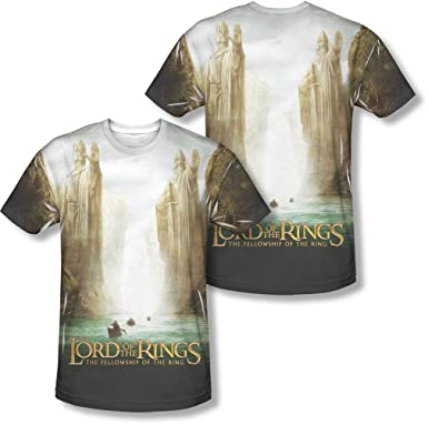 a3da4a29 Lord Of The Rings - Mens Fellowship Poster (Front/Back Print) T-Shirt:  Amazon.co.uk: Clothing