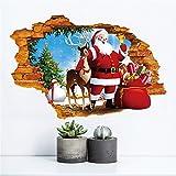Weihnachten 3D Wandaufkleber, Gusspower Wasserdicht Umweltschutz PVC Abnehmbare DIY Aufkleber Wandtattoos für Fernseher Sofa Hintergrund, Wand-Dekor für Christmas Props (B)