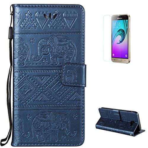 KaseHom Case for(Samsung Galaxy J3 Prime) Brieftasche Fall [Frei Schirm Schutz], Elefant geprägt Entwurf Flip Magnetisch Standfunktion mit Kartensteckplätzen Premium Leder Stoßfestes Blau