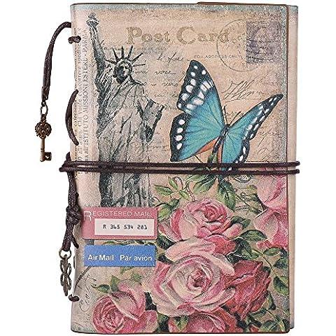 Pelle scrittura diario Notebook, maleden Vintage Traveler, Classic, Agenda per ragazze e ragazzi con fogli bianchi e tasca con zip Flowers