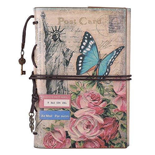 Maleden Paris Tagebuch, Ledereinband, Vintage, Reisenotizbuch, Einband, nachfüllbare Seiten, Planer für Mädchen und Jungen, blanko, mit Reißverschlussfach blumen