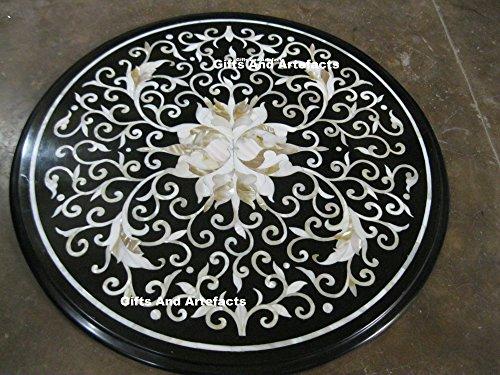 Inlay-top-couchtisch (61cm Durchmesser Schwarz Marmor Inlay Perlmutt Steine Sofa Beistelltisch Top)