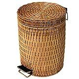 DW&HX Cestino step può,Rattan & Pattumiere di vimini con cestini di rifiuti per le cucine ufficio camera da letto-E