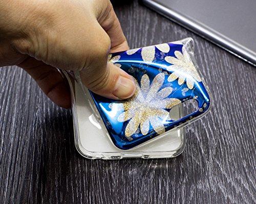 iPhone 6 Plus Coque Transparent Tpu,iPhone 6S Plus Étui en Silicone Mince avec Motif,JAWSEU [Double Face]Luxe Coloré Placage Cristal Clair Souple Gel Housse Etui de Protection,Bling Sparkle Case CLear bleu/fleur1