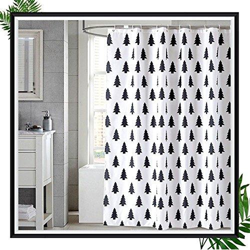 JYJSYM Kleine Baum Design, duschvorhang Verdickung, Wasserdichte Partition, duschvorhang, polyestermaterial, Bad duschvorhang, Badewanne duschvorhang, Haken 180x180cm,b,180x200cm
