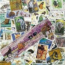 Briefmarken-Sammlung Wildtiere, abgestempelte Marken, verschiedene Motive, 100 Stück