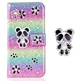 Kartenfach Brieftasch für iPhone XS iPhone X,Sparkle Funkeln Bling Glitter Glitzer Diamond Leder Stand Funktion Bookstyle Klassisch Modisch Flip -