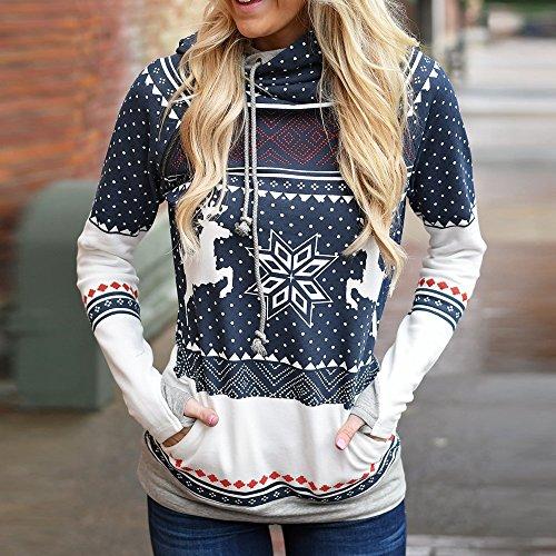 Bonboho Femme Sweat à Capuche Noël Imprimé Flacon de Neige Renne Pullover Sweater Hoodie Automne Hiver Tops Bleu