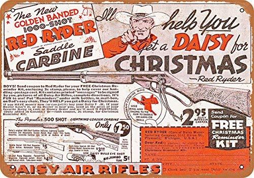 Phirtyrius 1940 Metallschild mit Aufschrift Daisy Red Rider BB Gun Vintage, 25,4 x 35,6 cm (Guns Bb Red)