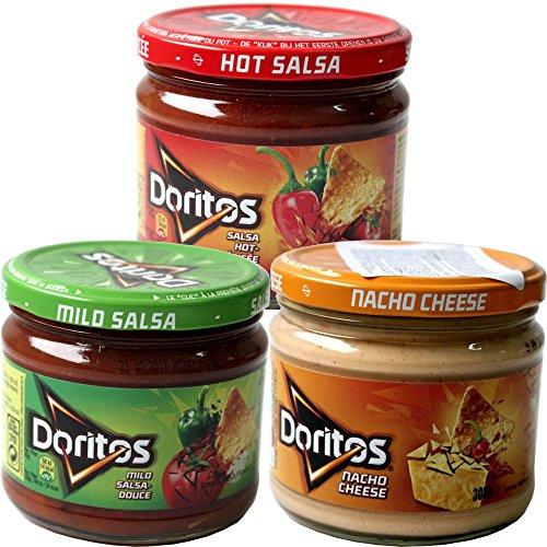 Doritos Nacho Chips Dip Sauce Testpaket Nacho Cheese 300g (Käse Dip), Mild Salsa 326g, Hot Salsa 326g