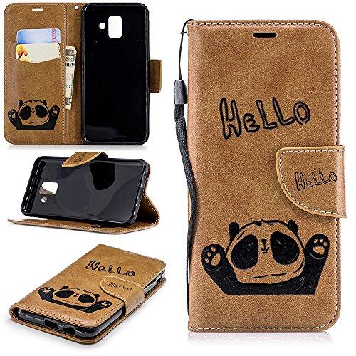 Linvei Galaxy A6 2018 Hülle,Premium Lederhülle Tasche PU-Leder Flip Wallet Case Cover für Samsung Galaxy A6 2018, Hello Panda - Braun