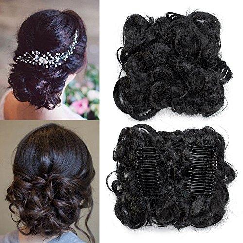 TESS Haargummi Haarteil Dutt Synthetik Haare für Haarknoten Zopf Gummiband Hochsteckfrisuren Haarband Schwarz