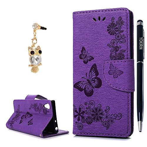 Sony Xperia XA1Wallet Case, yokirin Premium Soft PU Leder Notebook Wallet geprägt Schmetterling Blumen Design Hülle Ständer Funktion Karte Slot Slim Flip Schutz Skin Cover Tasche für Sony Xperia XA1 (Slim-layer-karte)