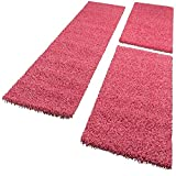 Paco Home Bettumrandung Läufer Shaggy Hochflor Langflor Teppich in Pink Läuferset 3Tlg, Grösse:2mal 70x140 1mal 70x250