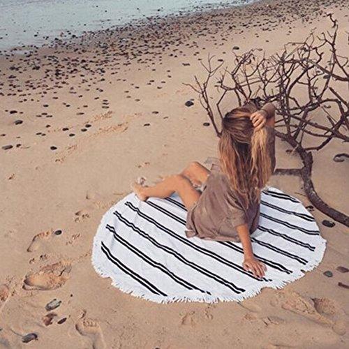 Zanasta XXL Stranddecke 140 cm Outdoor Große Runde Strand Decke und Handtuch für Camping, Strand und Freizeit, Picknickdecke Tuch mit Mikrofaser, Mandala Weiß mit schwarzen Streifen