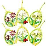 COM-FOUR® 6x Fenster-Holzbild in verschiedenen Blumen-Designs, zur Dekoration von Fenstern oder Sträuchern z.B. zu Ostern (06 Stück - Blume)