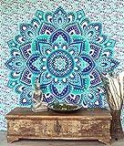 Guru-Shop Indisches Mandala Tuch, Wandtuch, Tagesdecke Mandala Druck - Smaragdgrün/blau, Baumwolle, 230x210 cm, Bettüberwurf, Sofa Überwurf