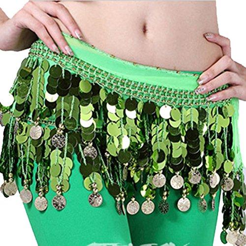 Damen Bauchtänzerin Kostüm Hip Scarf Wrap Sequins Gürtel 58 Coin Chiffon ()