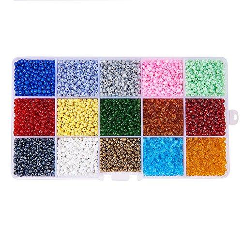 pandahall Elite - Lot de 1 Boite 15 Couleurs 8/0 Perles de Rocaille en Verre Perles Spacer Perle Rond, Couleur Melangee, 3mm, Trou: 1mm