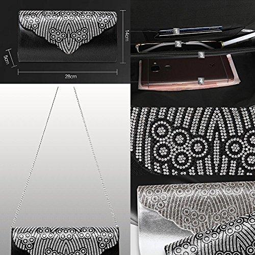 Frauen-Handtasche-Schulter-Abend-Handtaschen-Einkaufstasche schwarz 4