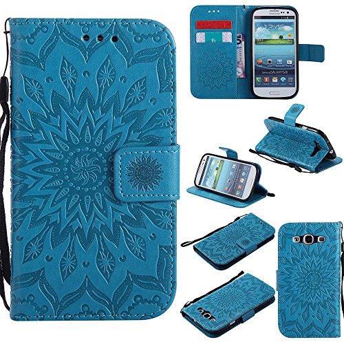 Custodia Galaxy S3, Galaxy S3 Neo Cover, Dfly Premium PU Goffratura Mandala Design Pelle Chiusura Magnetica Protettiva Portafoglio Custodia Super Sottile Flip Cover per Samsung Galaxy S3 / S3 Neo, Blu