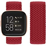Vozehui Compatibel met Fitbit Versa Strap/Fitbit Versa 2 Strap, elastisch, ademend, zacht, nylon, Kinitting Sport reserveband