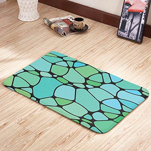 Moslion Doormats Seafoam Mosaic Geometric Lime Green Seafoam Blue Rectangular Doormat Decorative Indoor/Outdoor Cover Rug 18 X 31 Inch