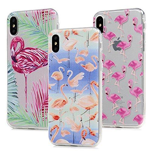3x Cover iPhone X, Custodia Morbida Silicone TPU Flessibile Gomma - MAXFE.CO Case Ultra Sottile Cassa Protettiva per iPhone X - Fenicotteri Fenicotteri