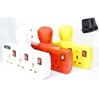 Grahini VIRGIN ABS 3 Socket 3 Individual Switches and LED Indicators Power Extension Board Universal Multi Plug (Multicolour)