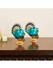 Home Centre Mayur Zuhi Embellished Peacock Votive Holder - Set of 2