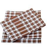 Lingorama Serviette De Table 50X50 Normande Carreaux Pur Coton -Vendu à la pièce- Coloris Chocolat
