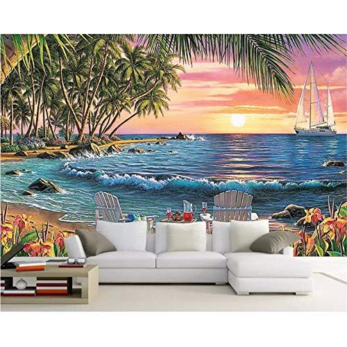 Doppelter Strandstuhl Des Kokosnussholzes Der Tapete 3D Schöner Landschaftshintergrund-Wandanstrich Des Großen Strandes W300xH210CM