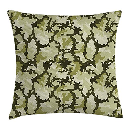 llow Cushion Cover, Pattern in Green Shades Background Woodland Wild Nature Design, Decorative Square Accent Pillow Case, 18 X18 Inches, Pale Green Dark Green Pale Green ()