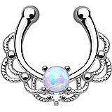 Kultpiercing–Finto Piercing per setto, gioiello a clip, tribale, con opale