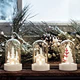 3er Set LED Mini Glasglocken mit Wintermotiven Batteriebetrieb warmweiß Lights4fun