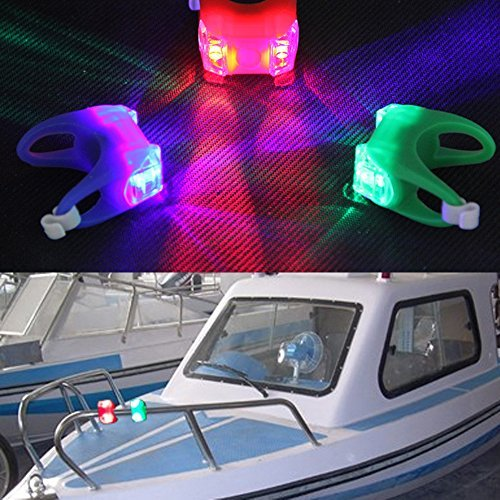 LJY Marine Boat Bow LED Lighting Portable 3-Mode LED Navigation Lamps Set for Emergency and Night Sailing, Red / Green / Blue Light Test